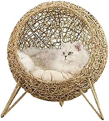 Mimbre Gato Cama Cesta Mascota Perro Casa para Dormir con Cojín Suave Four Seasons Universal Cat House Suministros para Gatos De Interior: Amazon.es: Hogar