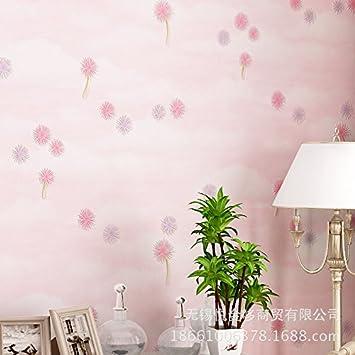 MDDW Idyllische Tapete Wohnzimmer Schlafzimmer Romantisch Rosa Löwenzahn  Vlies Tapete Hintergrundbild , 123028 Pink