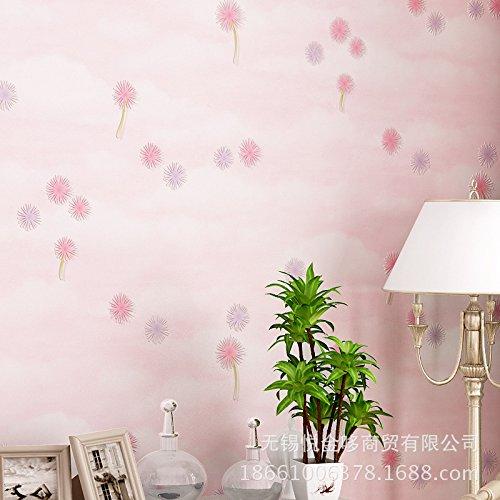 Idyllische Tapete Wohnzimmer Schlafzimmer romantisch rosa Löwenzahn ...
