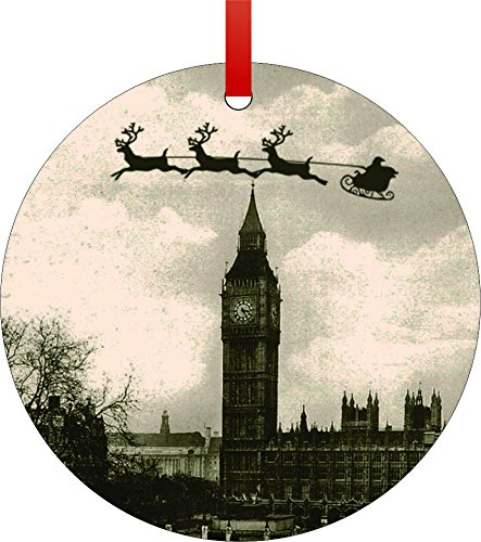 Vintage Santa and Sleigh Riding Over Big Ben-England-Double-Sided Round Shaped Flat Aluminum Christmas Holiday Hanging Tree Ornament. Made in the (Vintage Aluminum Christmas Trees)