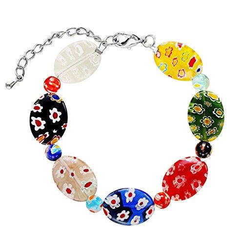 ink2055 Fashion Women Cherry Flower Floral Colored Glaze Bracelet Bangle Girl Jewelry Gift ()