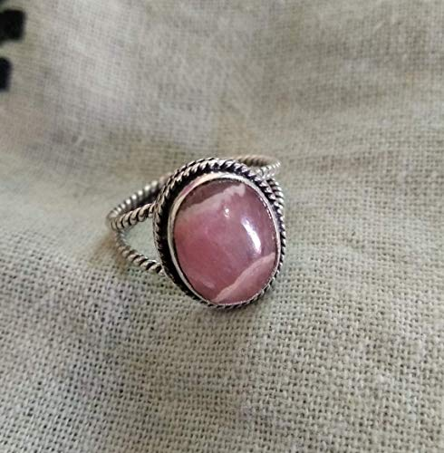 (Rhodochrosite Ring, Sterling Silver Ring, Designer Ring, Twisted Band Ring, Outstanding Ring, Bridesmaids Ring, Graceful Ring, Handmade Ring, Rope Wire Ring, Oval Stone Ring )