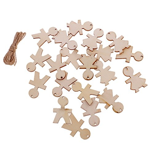 MagiDeal 20 Pieces Wooden Tags People Shape Cutout Hanging Embellishments for Decoration (People Hanging)