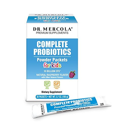 Dr Mercola Probiotics Powder Packets for Kids - 1 Box (30 Packets/Box) - Complete 10 Billion CFU - Natural Raspberry Flavor - Premium Dietary Supplement