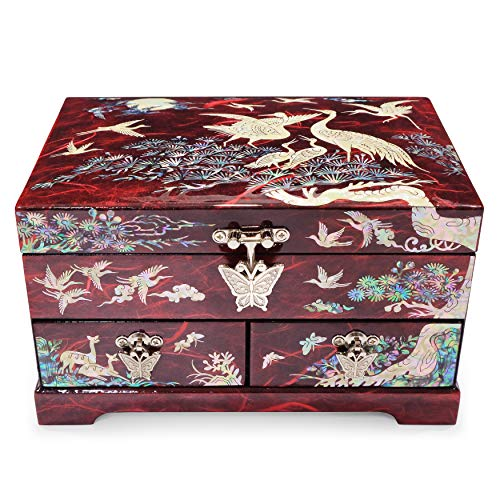 Hand Made Jewelry Box Ring Organizer Mother of Pearl Sea Shell Inlaid 2 Level 2 Drawers Mirror Lid Cranes Design (Red)