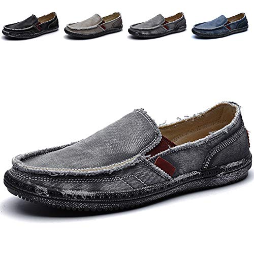 CASMAG Men's Men's Classic Canvas Comfort Casual Driving Penny Slip On Loafers Grey 8.5 M ()