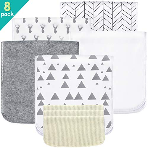 5 Pack Baby Burp Cloths Set - Upgraded Ultra Absorbent 100% Organic Cotton, Soft and Breathable Towels, Larger 21