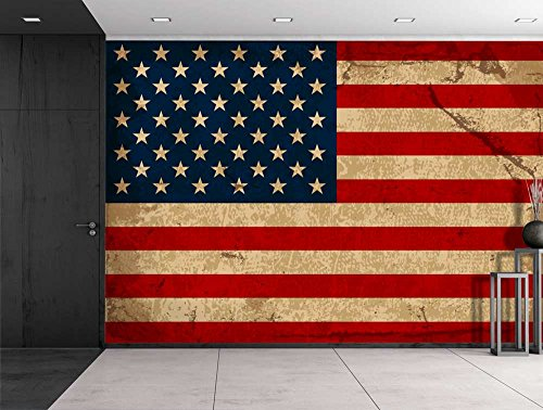 Large Wall Mural Vintage American Flag Vinyl Wallpaper Removable Decorating