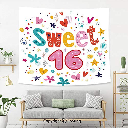 SoSung 16th Birthday Decorations Wall Tapestry,Sweet New Age Years with Heart Figures Dots Blooms Vintage Motif,Bedroom Living Room Dorm Wall Hanging,92X70 Inches,Multicolor]()