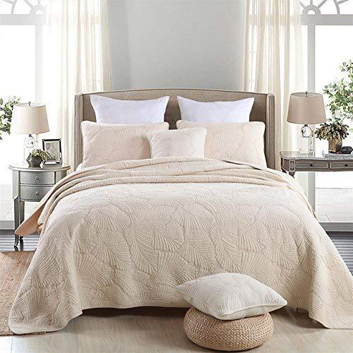 Palm Leaf Patchwork Cotton Bedspread Quilt Sets Fit Queen King ()