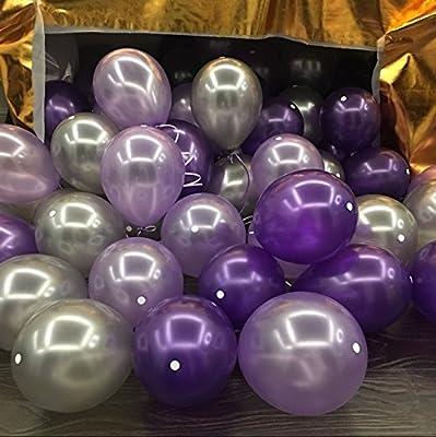 100pcs Latex Pearl Balloons Thicked Round Balloon DEEP PURPLE&LIGHT PURPLE&SILVER balloon Wedding&Birthday Decoration globos Party Baloons