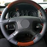 NCUIXZH Hand-Stitched Leather Black car Steering