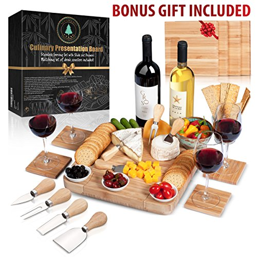 100% Bamboo Cheese Board with Slide-Out Drawer & 4-Piece Stainless Cutlery Set. Includes FREE set of matching coasters. Perfect House Warming Gift & Best Choice For Every Kitchen. Large (Fresh Fruit Dinner Plate)