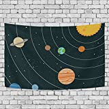 Sunlome Space Galaxy Home Decor, Solar System Illustration Pattern Tapestry Wall Decor Art for Living Room Bedroom Decoration 80 X 60 Inches