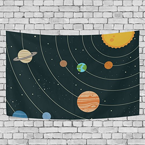 Sunlome Space Galaxy Home Decor, Solar System Illustration Pattern Tapestry Wall Decor Art for Living Room Bedroom Decoration 80 X 60 Inches by Sunlome