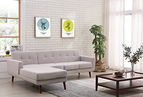 - Container Furniture Direct S0124L-2PC Andy Linen Upholstered Midcentury Modern Left-Sided Sectional Sofa, 69.29