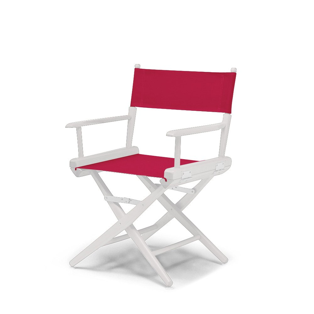 Telescope Casual World Famous Dining Height Director Chair, Red with White Frame