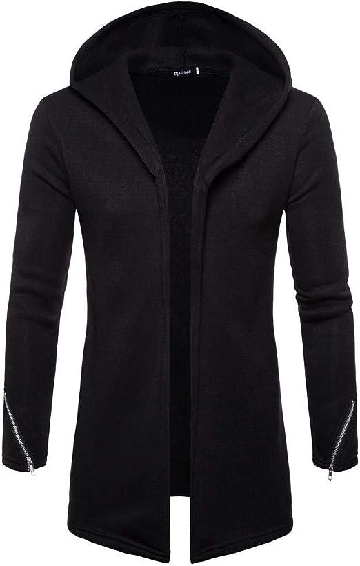 Mens Solid Baggy Zipper Coat Long Sleeves Casual Jacket Winter Warm Gym Hoodie