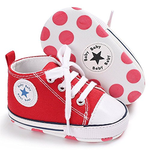 Isbasic Baby Boy Girl Canvas High Top Sneakers Infant Toddler Soft Sole First Walkers Shoes (12-18 Months, red3)