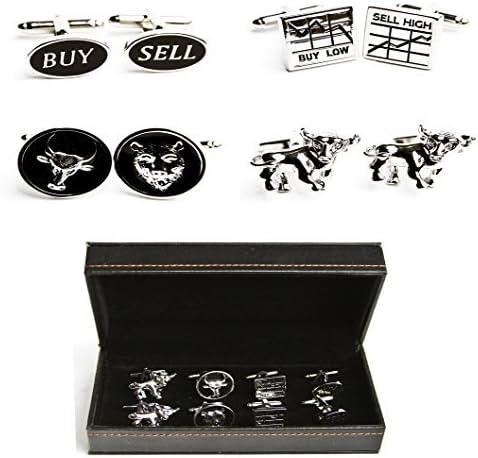 MRCUFF Wall Street Stockbroker Trader Bear Bull 4 Pairs Cufflinks in Presentation Gift Box & Polishing Cloth 51pXPh-QraL