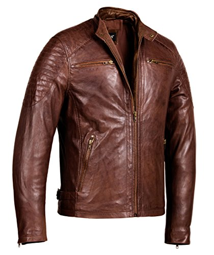Corbani Cafe Racer Brown Leather Jacket – Mens Genuine Leather Jackets (Large, Brown) (Brown Leather Cafe)