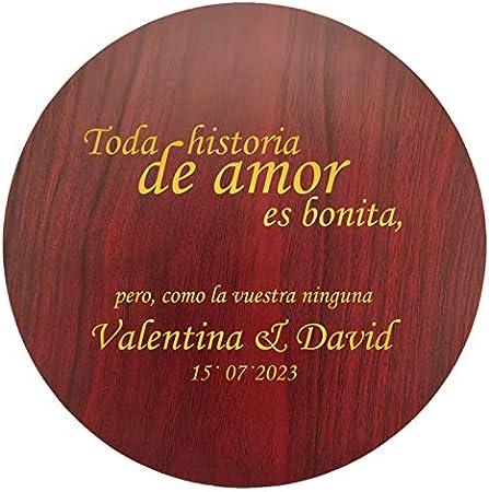 Set de vinos de elegante diseño circular con acabado en madera natural   Personalizado con letras o imágen
