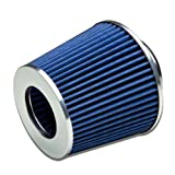 "3"" Inlet x 6.3"" Air Intake Chrome Open Top Cone Air Filter (Blue)"