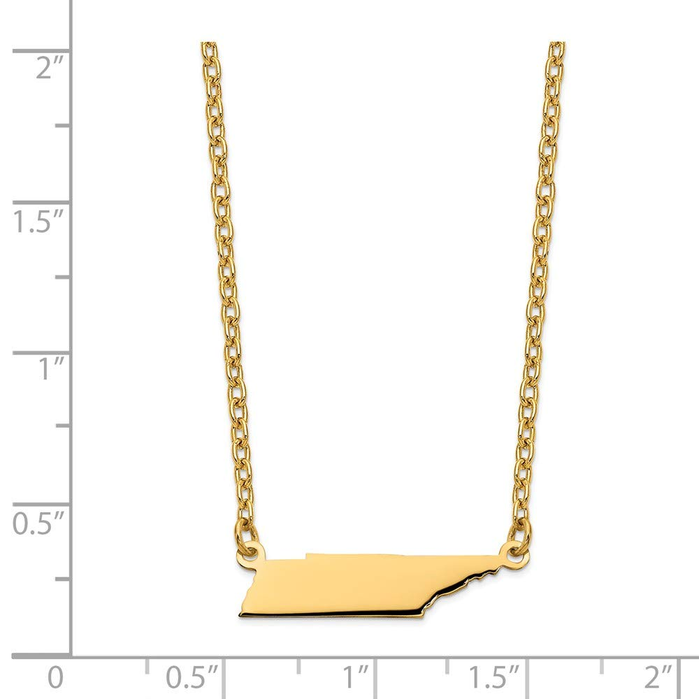 Mia Diamonds 925 Sterling Silver Gold Plated TN State Pendant with Chain Necklace