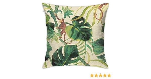 Karen Felix Throw Pillow Covers Tree Monkey Decorative Cushion Case for Sofa Bedroom Car 18 X 18 Inch 45 X 45 cm
