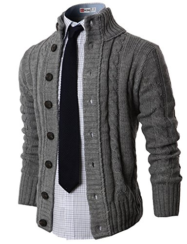 Mens Casual Stand Collar Cable Knitted Button Down Cardigan Sweater