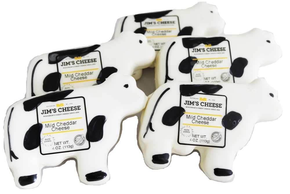 Cow Shape Wisconsin Cheddar Cheese Pack of 5-4 Ounces Each