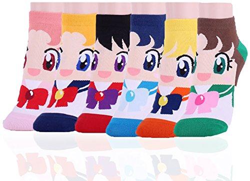 DearMy Womens Famous Cartoon Japanese Animation Print Cotton Blend Crew Socks (Sailor 6 Pairs)
