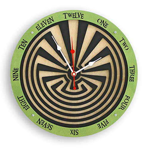 Maze (labyrinth) Wall Clock Handcrafted green and black unique wooden wall art home decor housewarming unusual gift