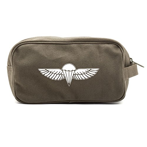 - IDF ISRAELI ARMY Paratrooper Wings BADGE Zahal Canvas Shower Kit Travel Toiletry Bag Case in Olive & White