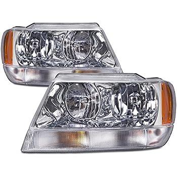 Jeep Grand Cherokee Laredo New Chrome Headlights Set (Limited Style) w/o Bulbs
