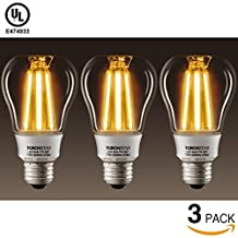 3-PACK 7W LED Bulb A19/ST19-Warm White 2700k-50W Incandescent Equivalent-650LM E26/E27 Base-Edison style vintage LED filament bulb- suitable for decorative light strands, light strings, ceiling fixtures and wall sconces