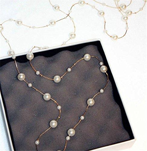 (P.phoebus 18K Rose Gold White Pearl Necklace Choker Statement Bib White Swarovski Crystal Rhinestone Charms Pendant for Women Girls (15))