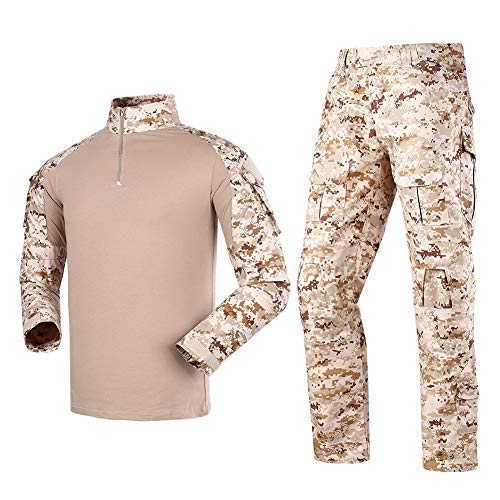 Men's Tactical Shirt and Combat Pants Set Long Sleeve 1/4 Zip T-Shirt Trousers for Military Hunting