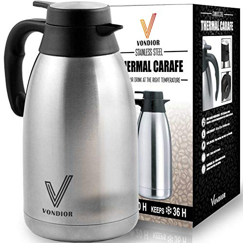 Vacuum Stainless Carafe Insulated Steel - Coffee Carafe (68 Oz) + Free Brush - Keep water hot up to 12 Hours, stainless steel thermos carafes, double walled Large Insulated Vacuum flask, Beverage Dispenser By Vondior
