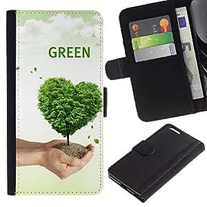 KingStore / Leather Etui en cuir / Apple Iphone 6 PLUS 5.5 / Corazón del amor de la naturaleza del árbol