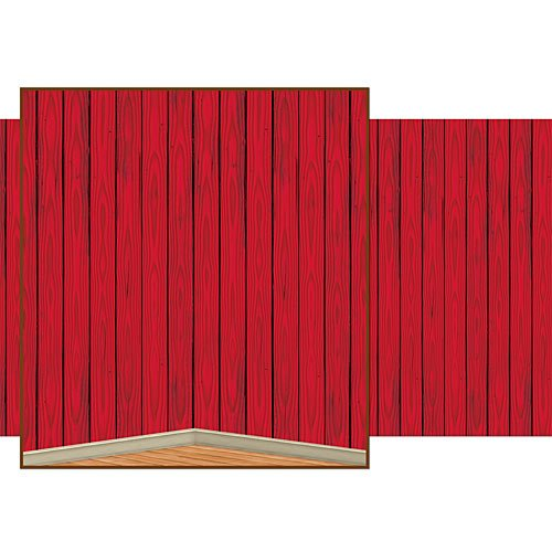 Red Barn Siding Backdrop Party Accessory (1 count) -