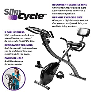 As Seen On TV Slim Cycle Stationary Bike – Folding Indoor Exercise Bike with Arm Resistance Bands and Heart Monitor – Perfect Home Exercise Machine for Cardio