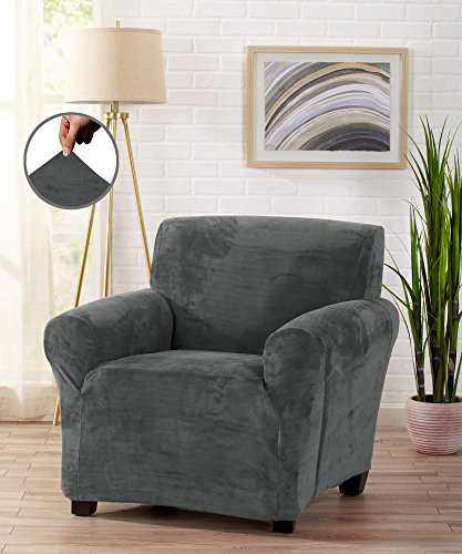 Modern Velvet Plush Strapless Slipcover. Form Fit Stretch, Stylish Furniture Cover / Protector. Gale Collection by Great Bay Home Brand. (Chair, Wild Dove Grey)