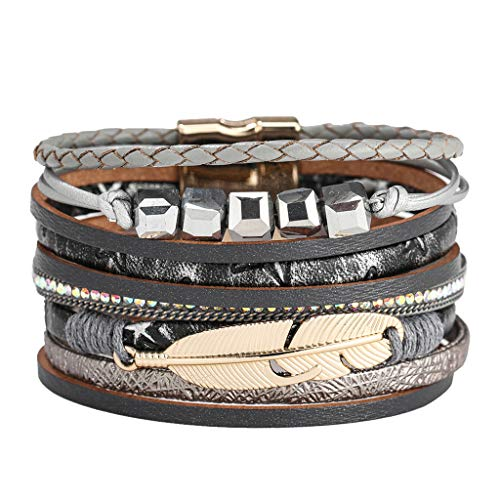 Gleamfut Fashion Multi-Layer Leather Wrap Bracelet Personality Creative New Handmade Braided Multiple Styles Bracelet
