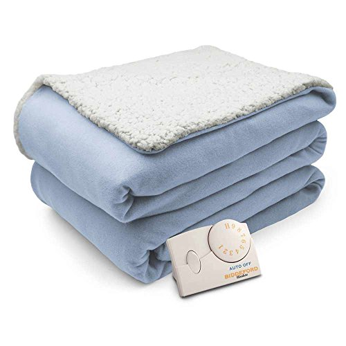 Biddeford Comfort Knit Natural Sherpa Electric Heated Blanket Twin Parade Blue