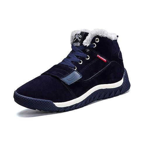 Botas De Nieve para Hombre Calzado De Invierno Zapatillas De Deporte Casuales con Botines CáLidos De Felpa Botas Altas En Azul Negro Rojo: Amazon.es: ...