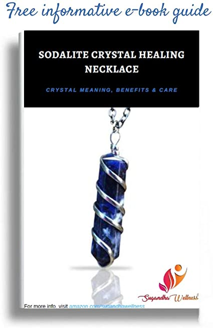 Rough Healing Stone Raw Blue Sodalite Macram\u00e9 Crystal Necklace on Brown Cord