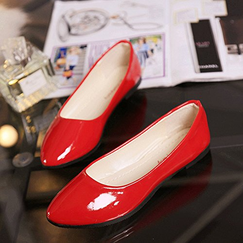 8 Pointy Shoes Colors Toe Classic Flats Leather Womens Red PU SAGUARO Ballet Ox4HzwOE