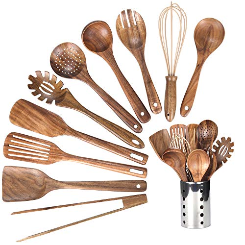 Kitchen Wooden Utensils for Cooking, Wood Utensil Natural Teak Wood Spoons for Cooking,Kitchen Utenails Set with Holder…