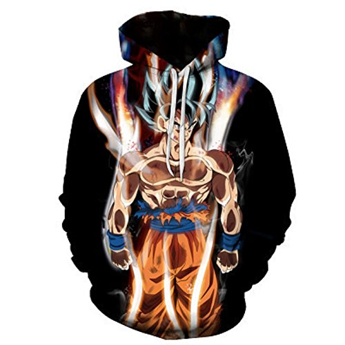 Dragon Ball Z Goku 3D Print Pullover Hoodie Cosplay Tops with Kangaroo Pocket G-L by Cosfunmax